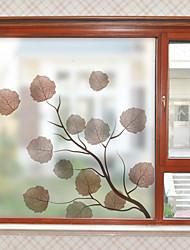 cheap -Leaves Pattern Matte Window Sticker Bathroom Kitchen Kids Room Shop Living Room Bedroom Balcony Window Film 60*58cm