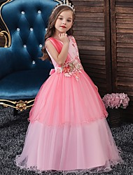 cheap -Princess / Ball Gown Floor Length Wedding / Party Flower Girl Dresses - Tulle Sleeveless Jewel Neck with Bow(s) / Appliques