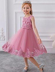 cheap -Ball Gown Knee Length Party / Wedding Flower Girl Dresses - Tulle Sleeveless Jewel Neck with Bow(s) / Appliques