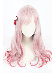 cheap -Cosplay Wig Lolita Curly Cosplay Halloween With Bangs Wig Long Red Synthetic Hair 25 inch Women's Anime Cosplay Easy to Carry Red