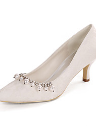 cheap -Women's Wedding Shoes Spring / Summer Kitten Heel Pointed Toe Classic Wedding Party & Evening Pearl / Sparkling Glitter Floral Lace White / Light Purple / Ivory