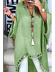 cheap -Women's Solid Colored Dusty Rose Fashion Hollow Shirt V Neck Blue / Blushing Pink / Khaki / Green / Light gray