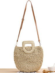 cheap -Women's Straw Top Handle Bag Straw Bag Solid Color Brown / Beige / Fall & Winter