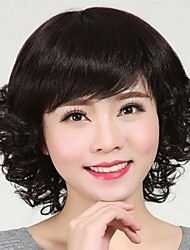 cheap -Synthetic Wig Curly With Bangs Wig Short Natural Black Synthetic Hair 12 inch Women's Simple Life Women Black