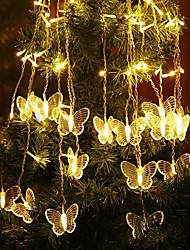 cheap -4m Icicle Curtain String Lights 96 LEDs Dip Led 18 Butterfly Lights 1 set Warm White White Red Halloween Christmas Party Decorative Linkable 110-120 V