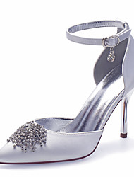 cheap -Women's Wedding Shoes Spring / Summer Stiletto Heel Pointed Toe Sexy Minimalism Wedding Party & Evening Imitation Pearl Solid Colored Satin White / Black / Purple