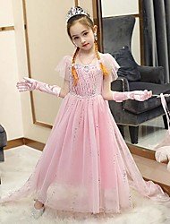 cheap -Fairytale Frozen Dress Girls' Movie Cosplay Cosplay European Vacation Dress Blue / Pink / Purple (With Accessories) Dress Children's Day Polyester Cotton