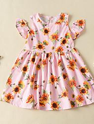 cheap -Kids Girls' Flower Cute Sun Flower Striped Floral Print Sleeveless Knee-length Dress Blue