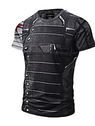 cheap -Men's T shirt Graphic Simulation Print Short Sleeve Daily Tops Active Punk & Gothic Black