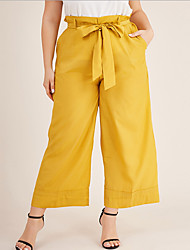 cheap -Women's Basic Loose Wide Leg Pants - Solid Colored Drawstring Yellow L / XL / XXL