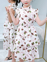 cheap -Kids Girls' Cute White Floral Trees / Leaves Patchwork Print Short Sleeve Knee-length Dress White