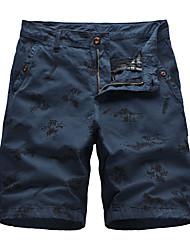 cheap -Men's Basic Daily Holiday Slim Cotton Chinos Shorts Pants - Plants Print Breathable Summer Army Green Khaki Dark Gray US34 / UK34 / EU42 / US36 / UK36 / EU44 / US38 / UK38 / EU46