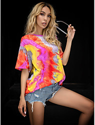 cheap -Women's T-shirt Tie Dye Tops - Print Round Neck Basic Daily Summer Yellow S M L XL