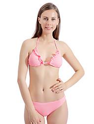 olcso -Női Arcpír rózsaszín Underwire Merész Bikini Tankini Fürdőruha Fürdőruha - Csíkos Fodrozott Nyomtatott S M L Arcpír rózsaszín