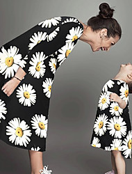 cheap -Mommy and Me Vintage Sweet Daisy Floral Geometric Graphic Print Half Sleeve Knee-length Dress White