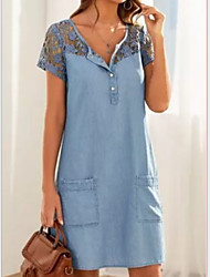 cheap -Women's Denim Dress Short Mini Dress Light Blue Short Sleeve Lace Pocket Summer V Neck Hot Casual Cotton 2021 S M L XL XXL