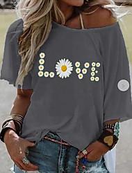voordelige -Dames Tops Geometrisch Letter T-shirt Ronde hals Dagelijks Zomer Geel Grijs S M L XL 2XL 3XL 4XL 5XL