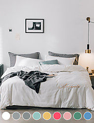 cheap -Washed cotton four-piece set Nordic style dormitory single double Nordic bed linen set solid color bedding
