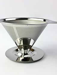 cheap -Reusable Coffee Filter Holder Stainless Steel Brew Drip Coffee Filters Funnel Metal Mesh Coffee Tea Filter
