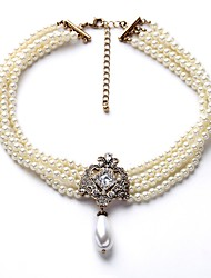 cheap -Women's Pendant Necklace Elegant Imitation Pearl Chrome White 40+8 cm Necklace Jewelry For
