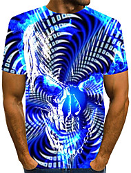 cheap -Men's T shirt Graphic Optical Illusion Geometric Plus Size Print Short Sleeve Daily Tops Streetwear Exaggerated Rainbow