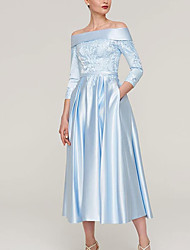 cheap -A-Line Mother of the Bride Dress Elegant Off Shoulder Ankle Length Satin 3/4 Length Sleeve with Pleats Appliques 2021