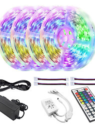 cheap -Waterproof 20M 4x5M 5050 10mm RGB Tiktok Lights LED Light Strips 30LEDsMeters 44Key IR Controller and 1x1 To 4 Cable Connnector with 10PCS Connecting line DC12V