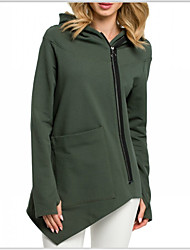 cheap -Women's Zip Up Hoodie Sweatshirt Solid Colored Basic Hoodies Sweatshirts  White Black Army Green
