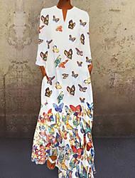 cheap -Women's Shift Dress Butterfly Maxi long Dress - Long Sleeve Spring Fall Vacation Loose White Yellow Blushing Pink Light Blue S M L XL XXL XXXL XXXXL XXXXXL