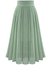 cheap -Women's Wedding Daily Basic Streetwear Swing Skirts Solid Colored Pleated Patchwork Black Blue Blushing Pink / Maxi