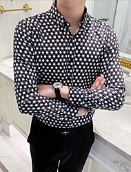 cheap -Men's Polka Dot Shirt Daily Going out Black