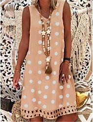 cheap -Women's Sundress Knee Length Dress - Sleeveless Polka Dot Print Summer V Neck Casual Vacation 2020 Khaki Gray M L XL XXL XXXL XXXXL