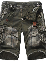 cheap -Men's Streetwear Punk & Gothic Going out Weekend Slim Cotton Shorts Tactical Cargo Pants - Plaid Checkered Solid Colored Sporty Outdoor Spring Summer Army Green Dark Gray US34 / UK34 / EU42 / US36