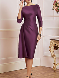cheap -Sheath / Column Mother of the Bride Dress Elegant Off Shoulder Knee Length Satin 3/4 Length Sleeve with Ruching 2021