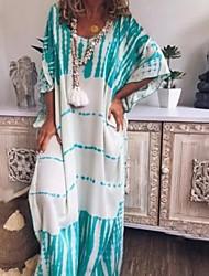 cheap -Women's A-Line Dress Maxi long Dress - Short Sleeves Striped Summer Casual 2020 White Blushing Pink Khaki S M L XL