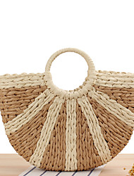 cheap -Women's Polyester / Straw Top Handle Bag Straw Bag Striped Camel / Green / Fall & Winter