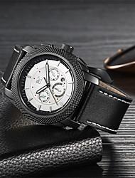 levne -Pánské mechanické hodinky Křemenný Pravá kůže 30 m Voděodolné Svítící Datum dne Analogové Módní Cool - Černá Hnědá Jeden rok Životnost baterie