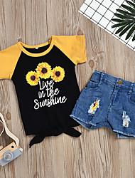 cheap -Kids Girls' Active Basic Daily Wear Festival Sun Flower Floral Print Short Sleeve Regular Short Clothing Set Black