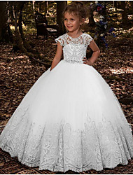 cheap -Ball Gown Floor Length Wedding / Party Flower Girl Dresses - Lace / Tulle Sleeveless Jewel Neck with Pleats / Solid