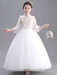 cheap -Ball Gown Floor Length Wedding / Party Flower Girl Dresses - Lace / Tulle Long Sleeve Jewel Neck with Appliques
