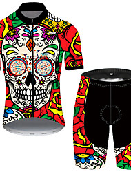 cheap -21Grams Men's Short Sleeve Cycling Jersey with Shorts Nylon Black / Red Skull Floral Botanical Funny Bike Quick Dry Breathable Sports Skull Mountain Bike MTB Road Bike Cycling Clothing Apparel