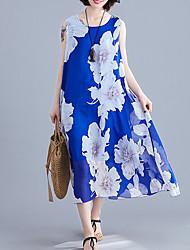 cheap -Women's Swing Dress Midi Dress - Sleeveless Floral Summer Work 2020 Blue Yellow Fuchsia Orange One-Size