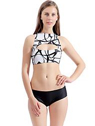 olcso -Női Fehér Merész Bikini Tankini Fürdőruha Fürdőruha - Virágos Nyomtatott S M L Fehér