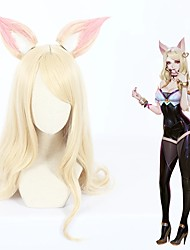 cheap -Cosplay Wig Ahri League of Legends Curly Cosplay Halloween Middle Part With Bangs Wig Long Light golden Synthetic Hair 27 inch Women's Anime Cosplay Party Blonde