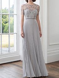 cheap -Sheath / Column Mother of the Bride Dress Elegant Illusion Neck Floor Length Chiffon Short Sleeve with Pleats Embroidery 2020