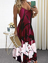 cheap -Women's Sheath Dress Maxi long Dress - Sleeveless Floral Summer Sexy Boho 2020 Wine Blue Purple Green Gray S M L XL XXL XXXL XXXXL XXXXXL
