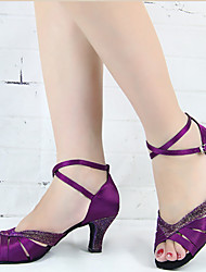 cheap -Women's Latin Shoes Dance Sneakers Samba Shoes Heel Sneaker Ribbon Tie Glitter Sequin Slim High Heel Purple Yellow Dark Red Cross Strap Sparkling Shoes