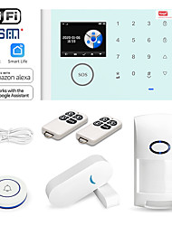 cheap -CS118 Home Alarm Systems / Smoke & Gas Detectors / Alarm Host GSM + WIFI iOS / Android Platform GSM + WIFI SMS / Phone / Learning Code 433 Hz for Park / Home / Kitchen