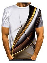 cheap -Men's T-shirt Galaxy Graphic 3D Print Print Tops Basic Round Neck White Purple Yellow / Short Sleeve