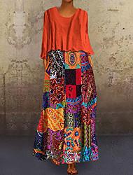 cheap -Women's Plus Size Two Piece Dress Midi Dress - Long Sleeve Geometric Vintage Blue Purple Orange M L XL XXL XXXL XXXXL XXXXXL
